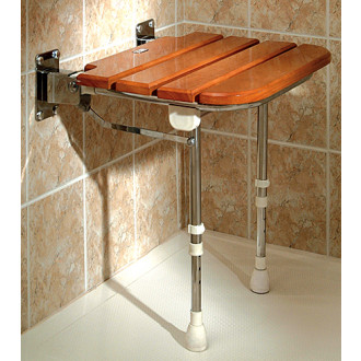Lovely Wooden Slatted Fold Up Shower Seat