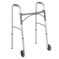 "Drive Folding Steel Walker, Two Button with 5"" Wheels"