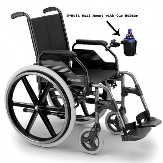 Cup Holder with U-Bolt Wheelchair Rail Mount